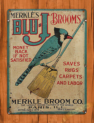 "TIN SIGN ""Blue-J Brooms"" Jay Rustic Bird Kitchen Wall Decor"