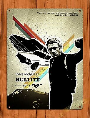 "TIN SIGN ""Bullitt"" Steve McQueen Charger Vintage Movie Art Poster Garage"