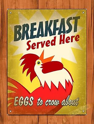 "TIN SIGN ""Breakfast Served Here"" Eggs Rooster Farm Kitchen Art Decor"