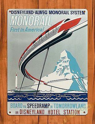 "TIN SIGN ""Disneyland Monorail"" Vintage Art Poster Ride Alweg Disney"