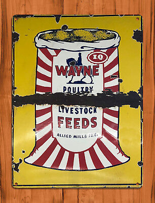 "TIN SIGN ""Wayne Feeds"" Ranch Farm Poultry Livestock Hog Barn Cattle Wall Decor"