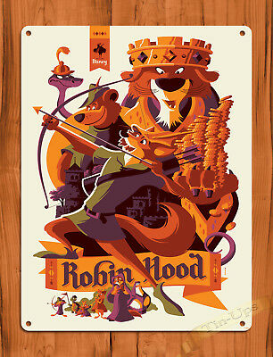 "TIN SIGN ""Robin Hood Art"" Disney Movie Cartoon Poster Wall Decor"