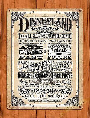 "Tin Sign ""Disneyland Welcomes You""  Disney Art Painting Ride Poster Dedication"