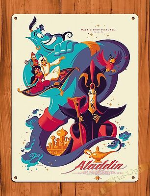 "TIN SIGN ""Aladdin"" Disney Vintage Ride Art Painting Movie Poster"