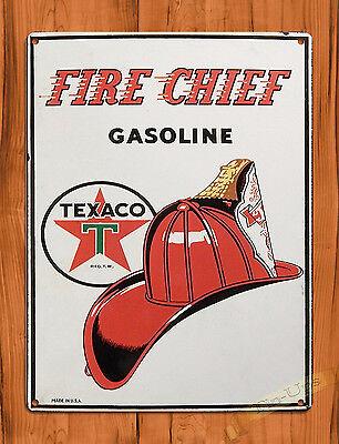 "TIN-UPS TIN SIGN ""Fire Chief"" Oil Garage Vintage Wall Decor"