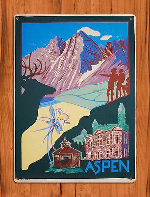 "TIN SIGN ""Aspen Hiking Poster"" Mountains Colorado Summer Cabin Decor for sale  Shipping to Canada"