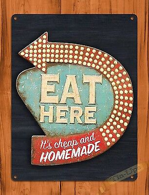 """TIN SIGN """"Eat Here Its Cheap And Homemade"""" Food Snacks Kitchen Store"""