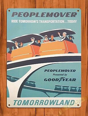 TIN SIGN Disney's People Mover Attraction Ride Art Poster