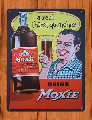 "TIN SIGN ""Drink Moxie"" Soda Rustic Pop Cola Kitchen Decor"