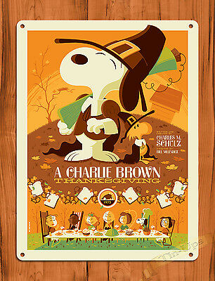 "TIN SIGN ""A Charlie Brown Thanksgiving"" Yellow Art Painting Movie Poster Peanuts"