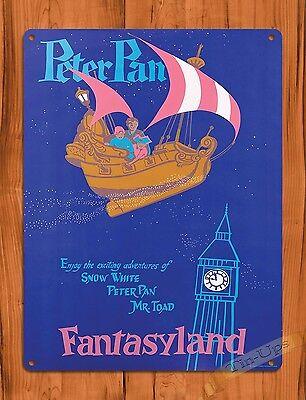 TIN SIGN Disney's Peter Pan Flight Attraction Ride Art Poster
