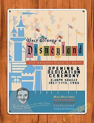 """TIN SIGN """"Disneyland Opening Day Dedication"""" Walt Disney Ride Art Poster"""