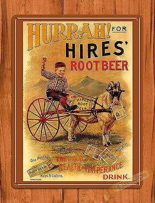 "TIN-UPS TIN SIGN ""Hurrah Hires"" Root Beer Soda Advertising Rustic Wall Decor"