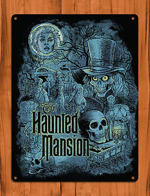 "TIN SIGN ""Haunted Mansion Blue"" Disney Ride Scary Art Wall Decor"