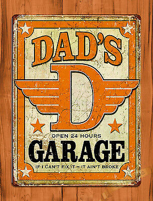 "TIN SIGN ""Dad's Garage"" Father Vintage Car Wall Decor"