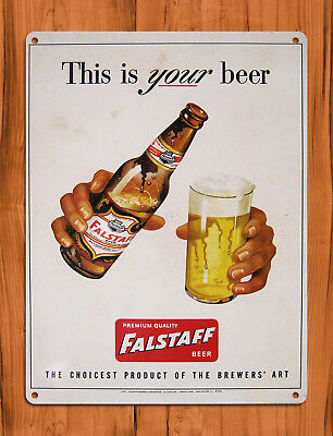 """TIN SIGN """"Falstaff Pour"""" New Orleans Beer Draft Brew Rustic Bar Wall Decor"""