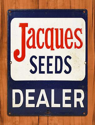 "TIN SIGN ""Jacques Seeds"" Corn Farm Feed Barn Decor"