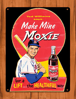 "TIN SIGN ""Moxie Ted Williams"" Soda Baseball Rustic Pop Cola Kitchen Decor"