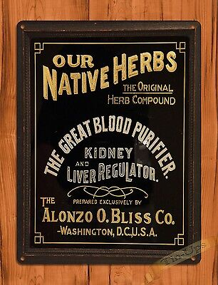 "TIN SIGN ""Our Native Herbs"" Rustic Medicine Kitchen Wall Decor"