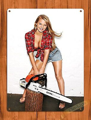 "TIN SIGN ""Stihl Calendar Girl Chainsaw"" Vintage Pin Up Rustic Wall Decor"