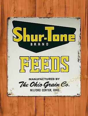 "TIN SIGN ""Shur-Tone Feeds"" Ranch Farm Hog Barn Cattle Wall Decor"