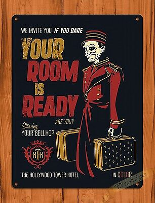 """TIN SIGN """"Tower Of Terror Your Room Is Ready"""" Disney Art Ride Movie Poster"""