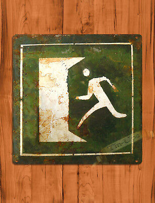 """TIN SIGN """"Old Exit Sign"""" 9"""" SQUARE Retro Rustic Wall Decor"""