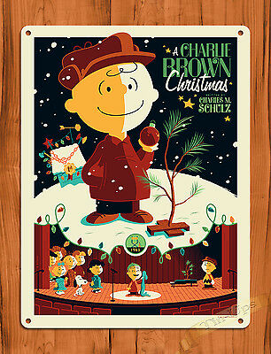 """TIN SIGN """"A Charlie Brown Christmas """" Brown Art Painting Movie Poster Peanuts"""