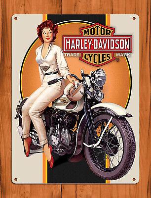 """TIN SIGN """"HarleyBabe"""" Davidson Bike Rustic Motorcycle Garage Decor"""