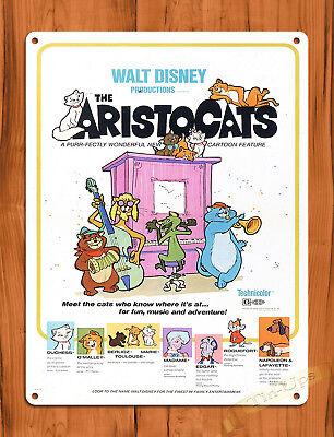 """TIN SIGN """"The Aristocats"""" Disney Movie Cartoon Wall Decor"""