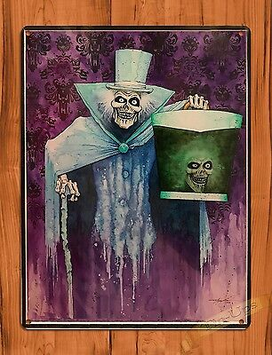 TIN SIGN Haunted Mansion Hatbox Ghost Disney Art Ride Movie Poster