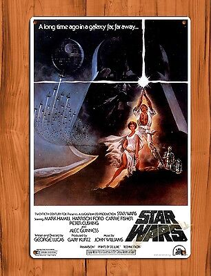 "TIN SIGN ""Star Wars"" Vintage Movie Ride Art Poster"