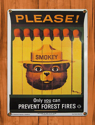 "TIN SIGN ""Smokey Bear Matchbook"" PSA Forest Fires Rustic Cabin Wall Decor"