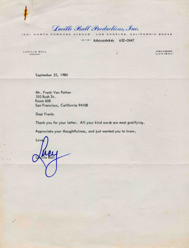 Lucille Lucy Ball Rare Typed Letter Signed