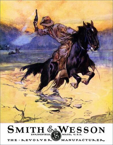 "Smith & Wesson - Hostiles Vintage Tin Metal Sign, 12.5"" W x 16"" H"