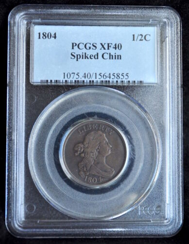 1804 HALF CENT PCGS XF-40 SPIKED CHIN VARIETY