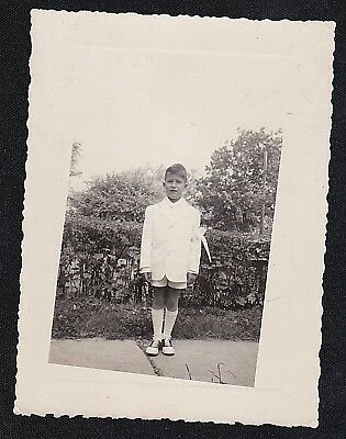 Boys First Communion Shoes (Vintage Antique Photograph Boy in First Holy Communion Outfit - Saddle)