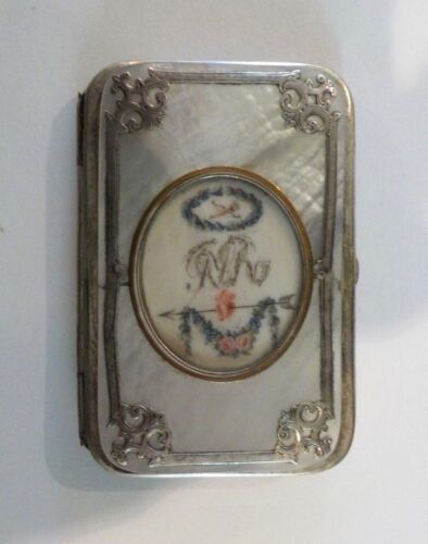 19th C. Mother-of-Pearl Needle Case, Sterling Silver Trim