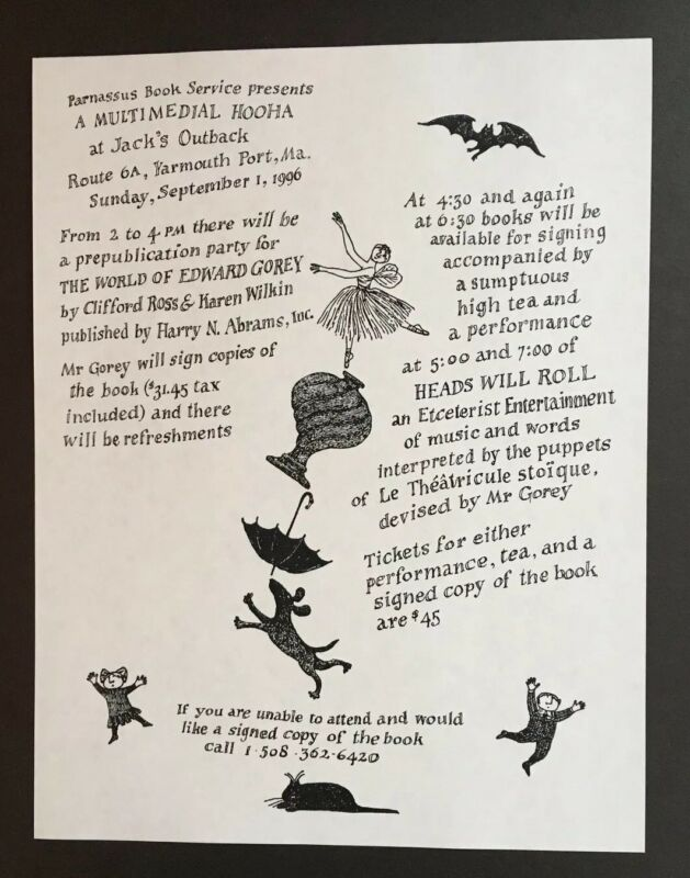 Edward Gorey *Illustrated Mailer for A Multimedial Hooha at Jack