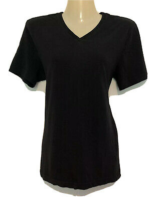 H&M V-Neck T-Shirt Regular Fit Size Small Solid Black 100% Cotton Short Sleeve