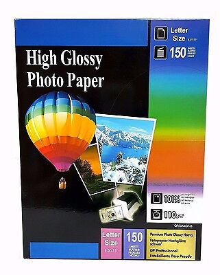 "Premium Glossy Inkjet Photo Paper 8.5""x11"" Letter Size 150 sheets Weight 110gsm"