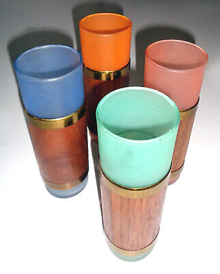 Mid Century Modern Tall Frosted Glass Tumblers, Gold and Wood Trim, Set of 4