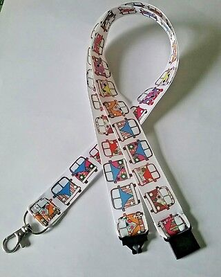 White campervan VW ribbon lanyard safety clip ID badge holder student gift
