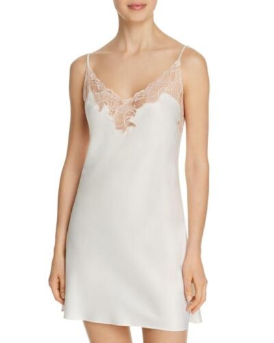 Natori Feathers Collection PLUME Warm White Polyester Satin Pearl Lace Chemise S