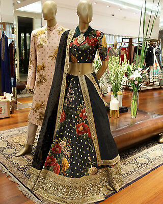 Bridal Wear Black Designer Lehenga Choli Party Ethnic Saree Indian Pakistani Set