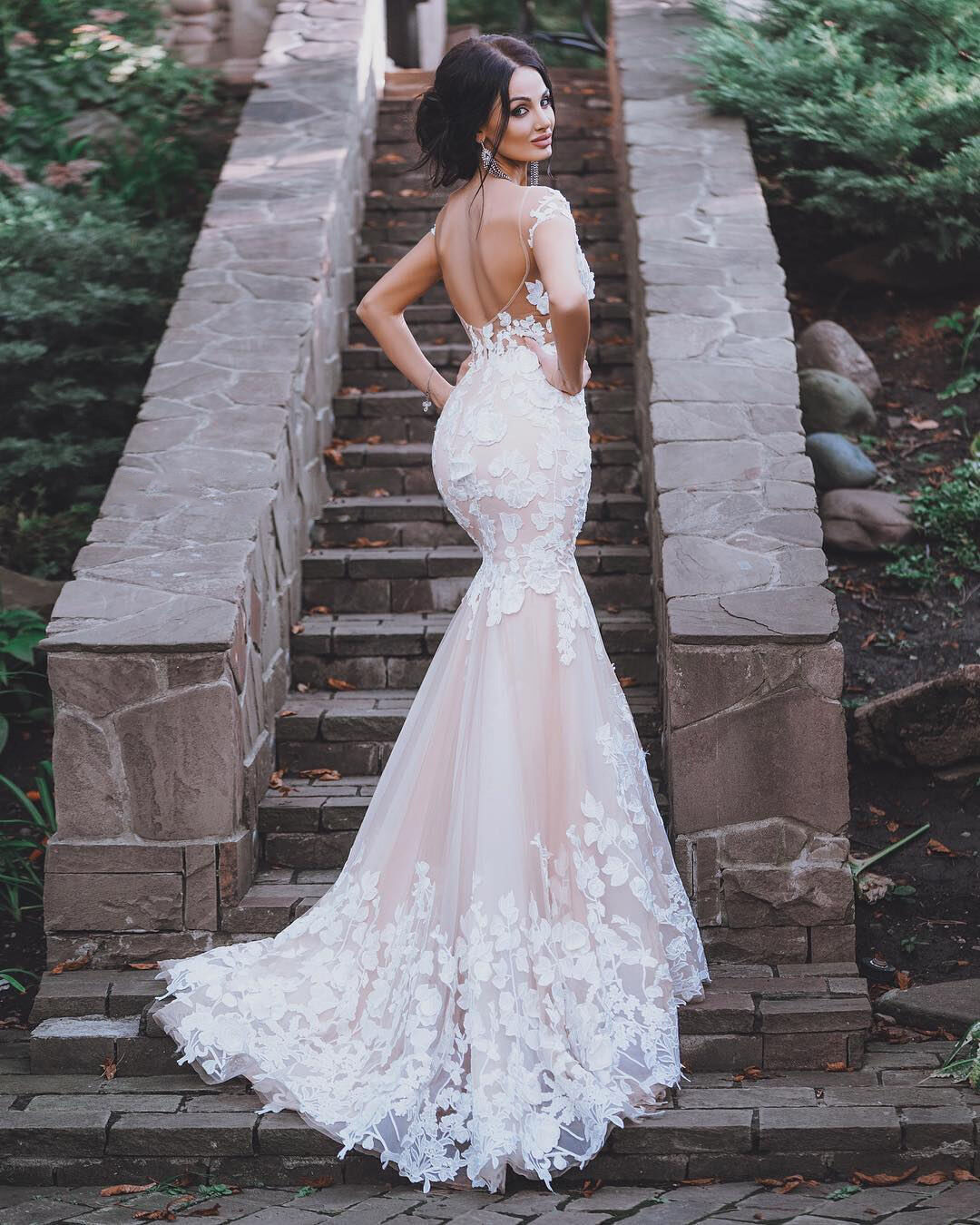 Blush Pink Bridal Gowns Wedding Dresses Mermaid Backless Plus Pees Size S Ebay