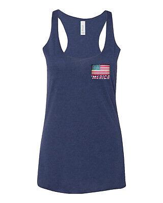 Women's 'Merica Flag Chest C6 Navy Triblend Racerback Tank Top American USA US ()