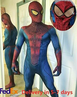 Amazing Spiderman Suit (The Amazing Spiderman 1 Tights Halloween cosplay Costume zentai Suit 3D)