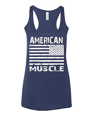 Women's American Muscle US Flag C6 Navy Triblend Racerback Tank Top Workout USA ()