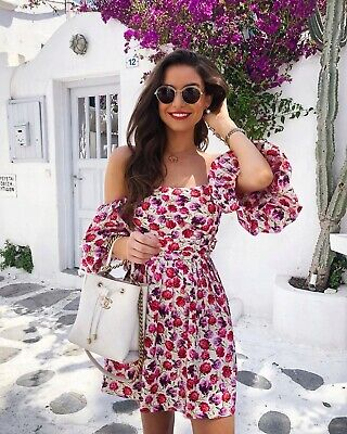 Zara Floral Printed Mini Dress With Belt And Puff Sleeves Size XS/S/M/L/XL BNWT